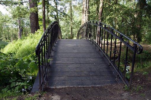 Bridge, Footbridge, Romantic, Park, Forest, Water