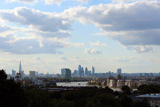 City, London, View, Overview, Sky, Clouds, Skyline