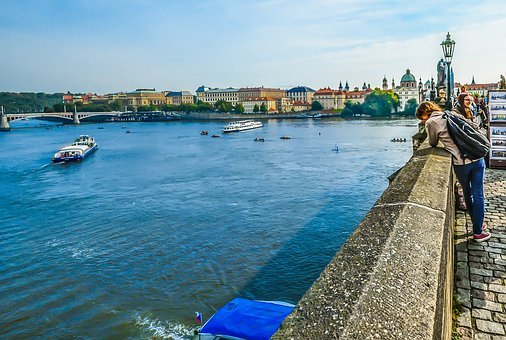 Prague, Bridge, Czech, Tourism, Boats, Tour, Young, Man