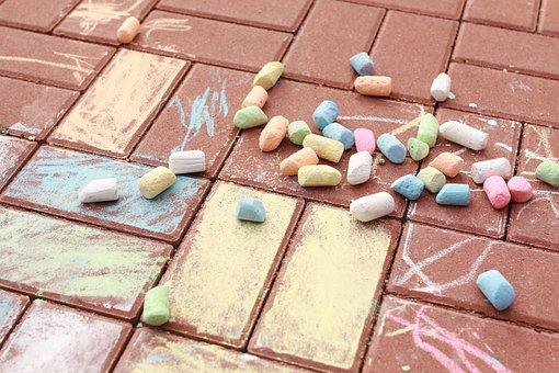 Country, Brick, A Child's Drawing, Pavement, Chalk