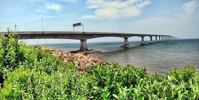 Confederation Bridge, Canada, Bridge, Water, Pei