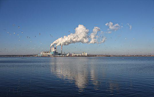 Lake, Power Station, Chimneys, Smoke