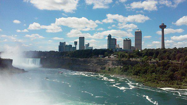 Canada, Waterfall, Boarder, Landscape, Nature, Travel