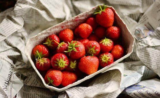 Strawberries, Fruit, Fruits, Cardboard