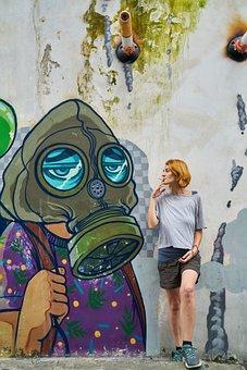 Woman, Graffiti, Cigarette, Harmful, Beautiful, Model