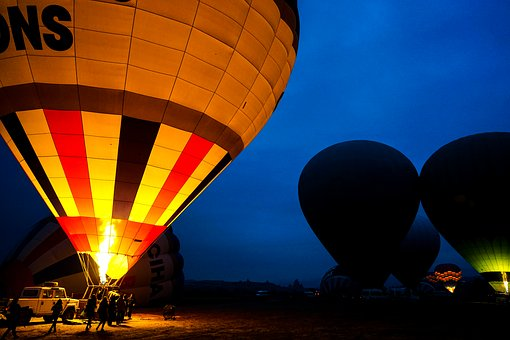 Hot Air Balloon, Early In The Morning, Light