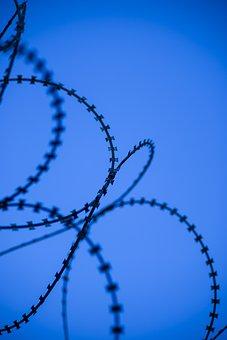 Blue, Wire, Prison, Barricade, Barbed Wire, Sharp