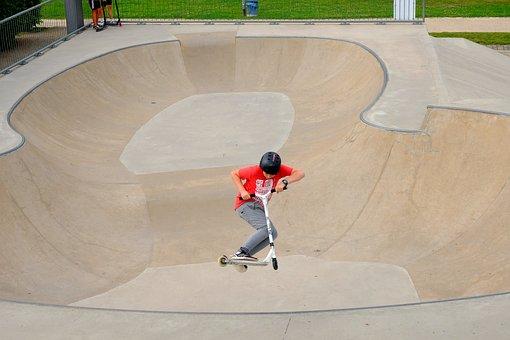 Kickboard, Stunt, Skater, Roller, Roll, Drive, Boy