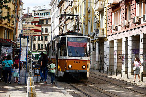 Sofia, Bulgaria, Tram, Catenary, Train, Upper Lines