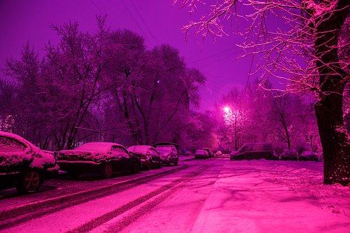 Snow, Street, Winter, Moscow, Trees, Night