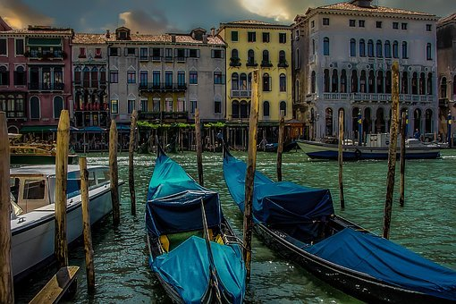 Venice, Venetian, Evening, Moonlight, Gondola, Canal