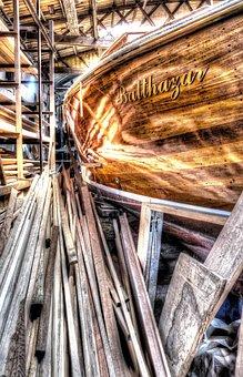 Boot Repair, Ship Yard, Sailing, Wood, Yard, Rope