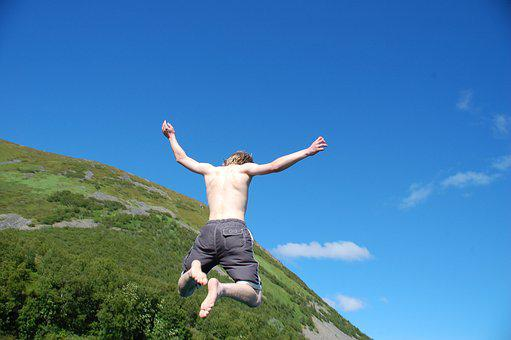 Boy, Summer, Bathing, Jump, Sky, Blue, Green, Mountain