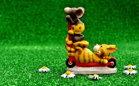 Cat, Mouse, Roller, Cute, Figures, Fun, Decoration