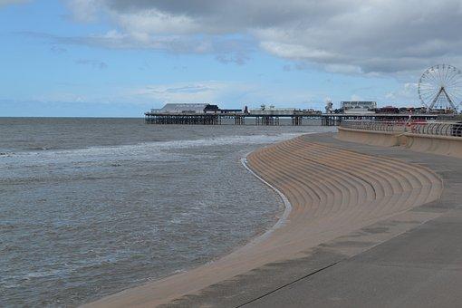 Blackpool, Beach, Pier, Lancashire, Uk, Coast, Seaside