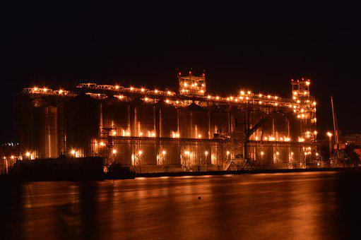 Terminal, Cofco, Cereals, River, Night, Light, Water