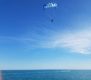 Parachute, Air, Sky, Ocean, Extreme, Sport, Fly