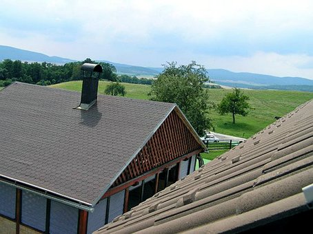 The Roof Of The, Tiles, Gazebo, House, Chimney