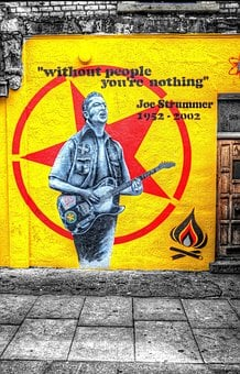 Street Poster, Joe Strummer, Yellow, Wall Sign, Image