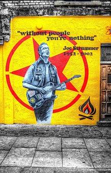 Street Poster, Joe Strummer, Yellow, Wall Sign, Image