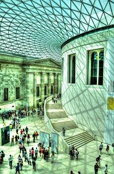 British Museum, Light, Glass, City, People, Pattern