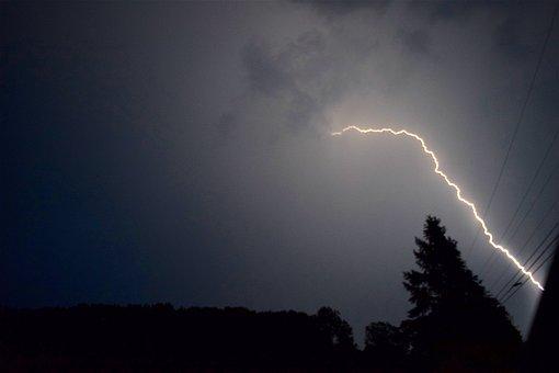 Sky, Tree, Darkness, Evening, Nature, Storm, Blue