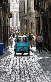 Tricycle, Vehicle, Cobblestone, Street, Italy