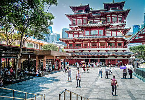 China Town, Singapore, Asian, Temple, People, Shopping