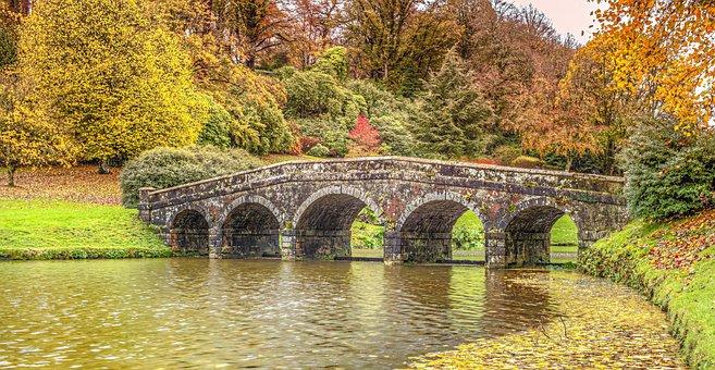 Bridge, Water, Lake, Stourhead, Garden, Public, Tourism