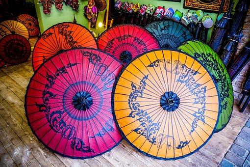 Oriental Umbrellas, Multi Color, Oriental, Umbrella