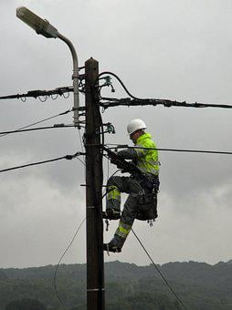 Power Pole, Worker, Electric Wires, Street Lamp