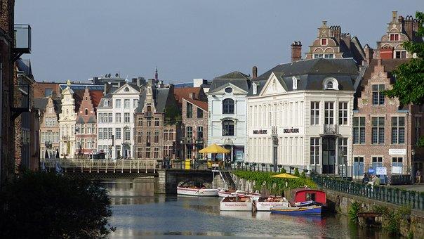 Ghent, Belgium, Canal, Architecture, Building