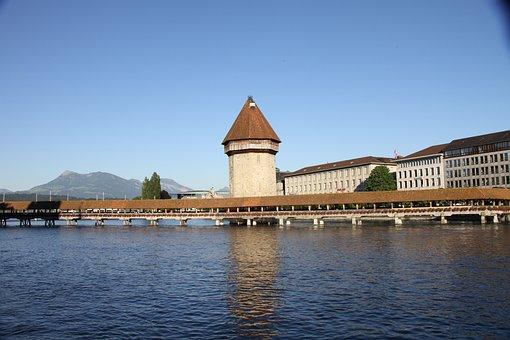 Lucerne, Chapel, Bridge, Wood, Tower, City, Water, Lake