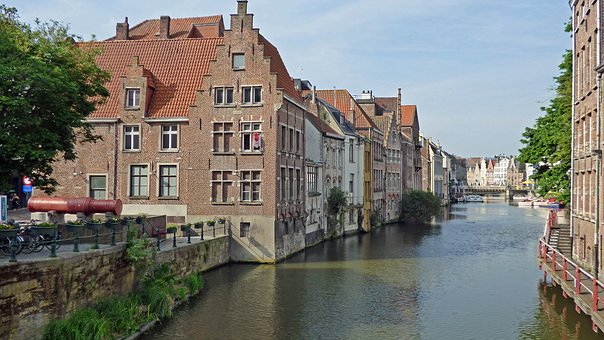 Ghent, Belgium, Architecture, Canal, Historic, Town