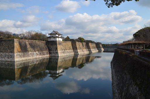 Osaka Castle, Outer Moat, Moat, Castle, Japanese, Japan