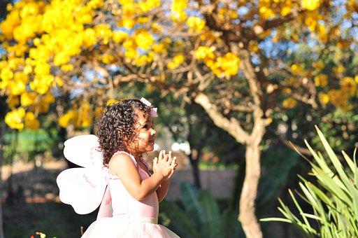 Butterfly, Child, Fairy, Girl, Garden