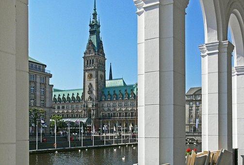 Hamburg, Alsterarkaden, By Looking, Town Hall, Alster