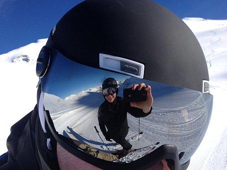 Goggles, Mirroring, Ski Run, White, Selfie