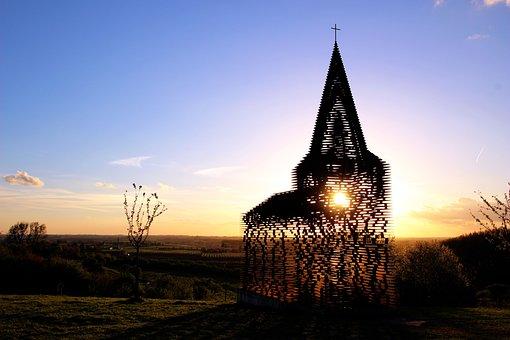 Sunset, Twilight, Nature, Church, Art, Borgloon