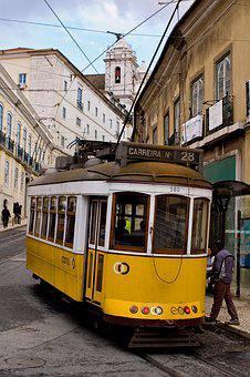 Lisbon, Portugal, Historic Center, City, Baixa, Tram