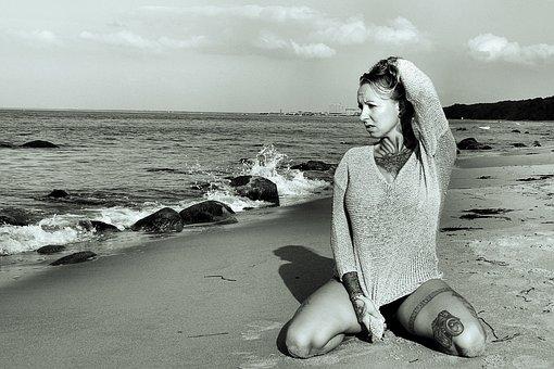 Beach, Beauty, Tattoo, Protrait, Woman, Water