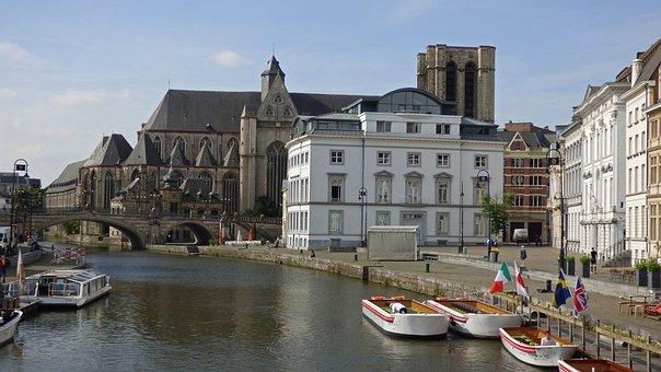 Ghent, Belgium, Gent, Canal, Architecture, Cityscape