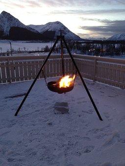 Bålpanne, Campfire, Terrace, Sunset, Towards The Light