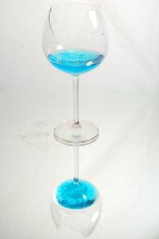 Glass, Blue, Break, Broken, Fragile