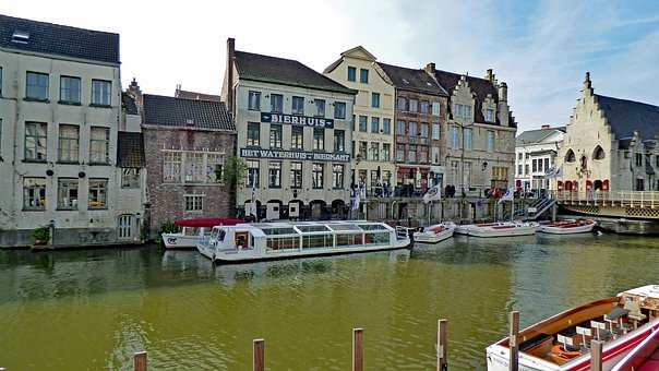 Ghent, Belgium, City, Architecture, Historical, Canal