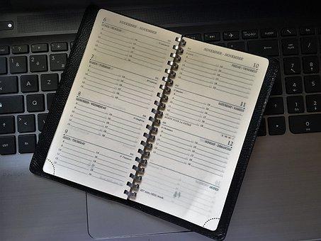 Diary, Keyboard, Leather, Schedule, Week, Organization