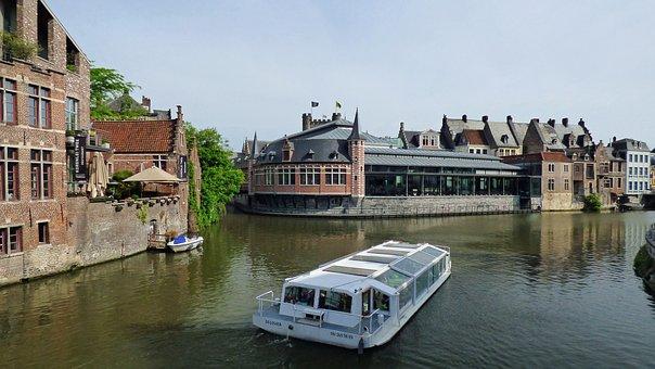 Ghent, Belgium, Canal, Architecture, Gent