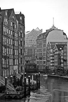 Hamburg, Harbour Cruise, Monochrome, Vintage