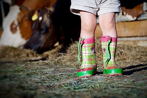 Boots, Child, Girl, Shoes, Rubber Boots, Laugh
