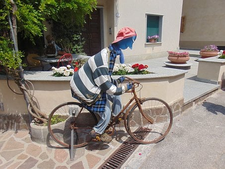 Cyclists, Sculpture, Original, Bike, Locomotion